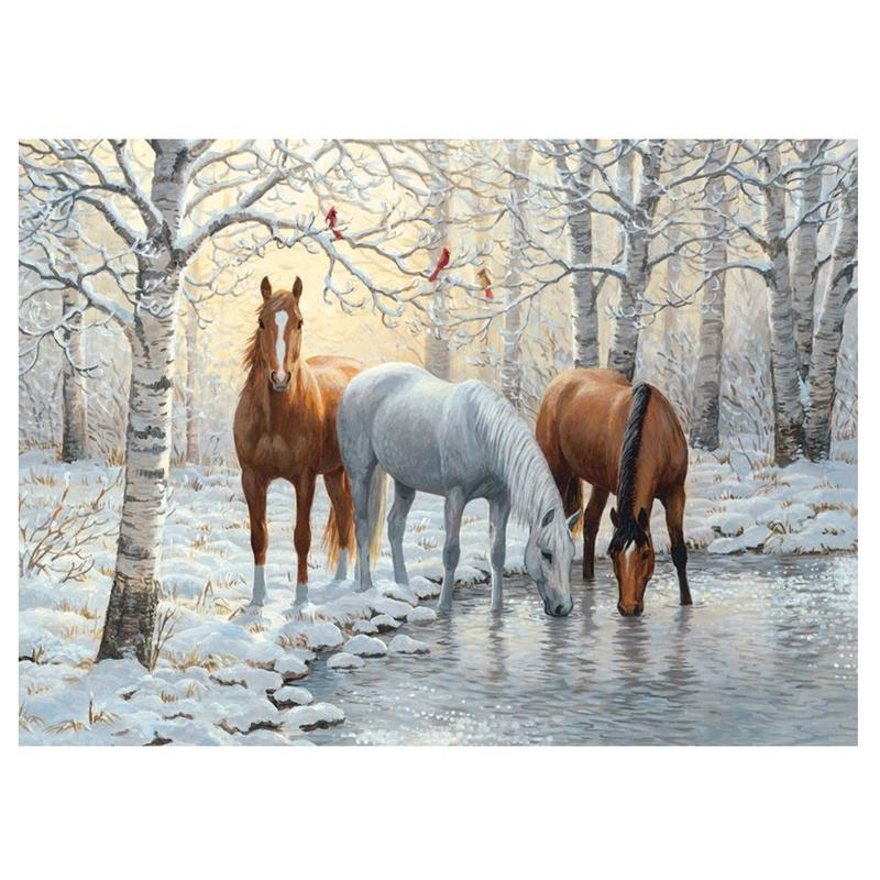 Diamond Painting Full Square/Round Forest Covered with Snow and Horses 5D Daimond Painting Picture Embroidery Mosaic Zou031