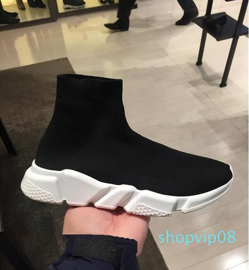 Hot Marca Sock Shoe Men Womens velocidade Trainers Sneakers Moda Top Quality Knit malha Deslizamento-On Air Shoes Ultra Luz inferior Runners Bota