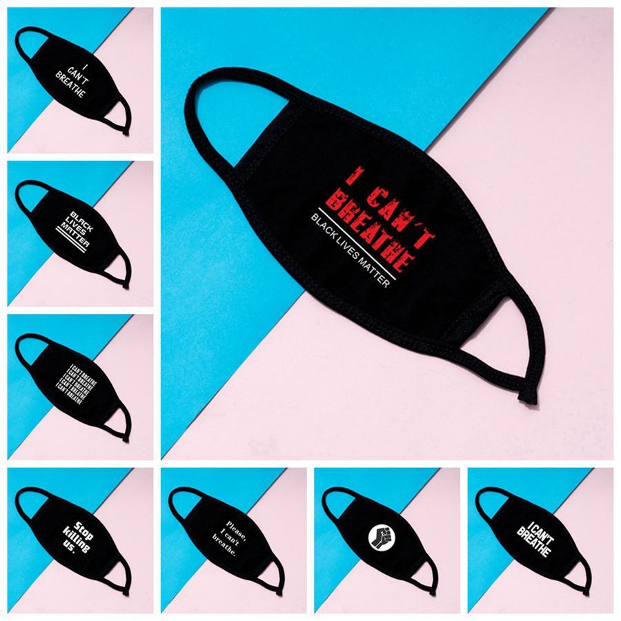 Ich kann nicht atmen Masken Schwarz Lives Matter Gesichtsmaske George Floyd Adult Masken Waschbar Wiederverwendbare Gesicht Designer Maske 8styles RRA3128
