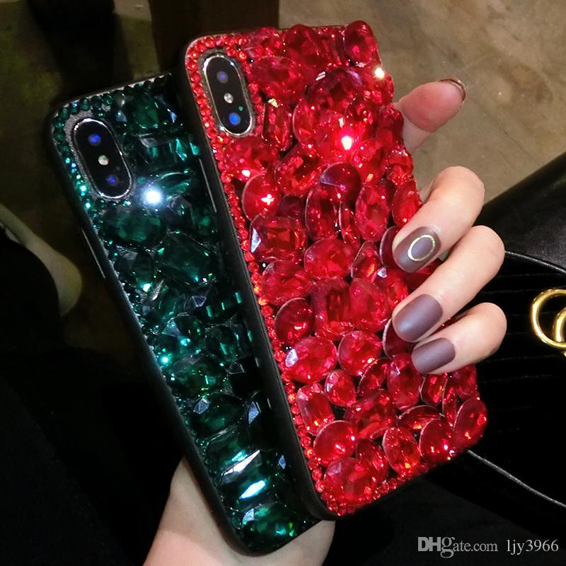 ambiente logotipo popular cáscara del teléfono móvil de lujo de Apple Caja protectora del teléfono móvil tres dimensiones del taladro es adecuado para Pingguo m