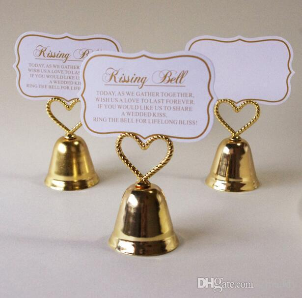 Wedding Party Table Decoration Gold Silver Kissing Bell Heart Bell Place Name Card Holder Photo 100pcs wholesale