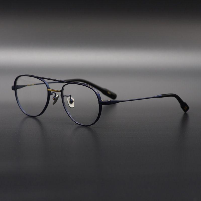 El yapımı saf titanyum yüksek kaliteli optik gözlük çerçevesi bronz rengi eski bodur Pilot miyopi erkekler kadınlar optik gözlük çerçevesi Retro gözlük