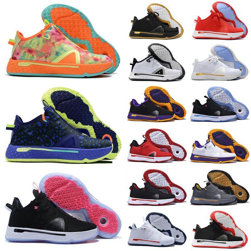 جديد وصول بول جورج PG 4 IV البحرية البرتقال الأسود أحذية الرجال لكرة السلة للPG4 الرياضة Chaussures 4S المدربين الرياضية حذاء رياضة حجم 40-46