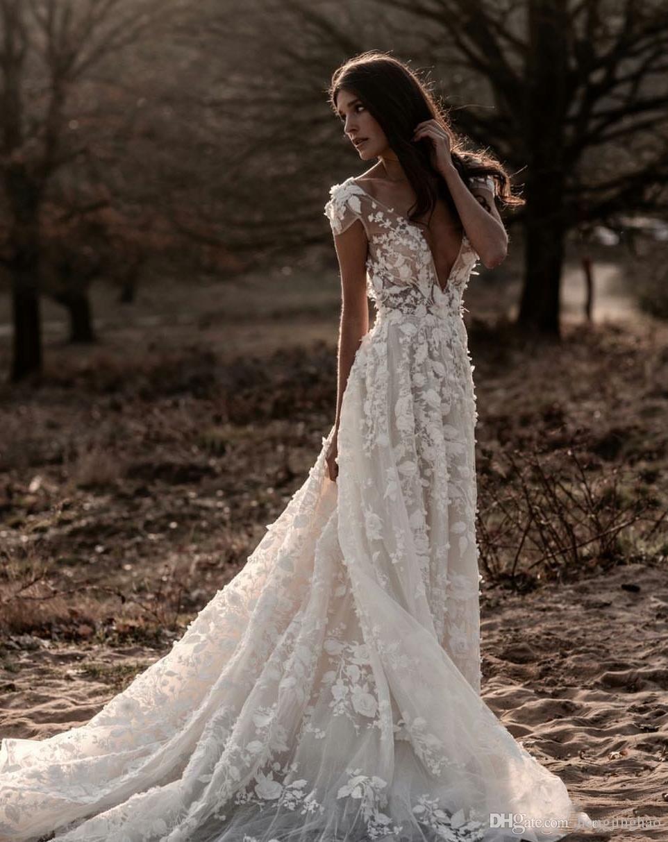 Berta Summer Boho A-Line Wedding Dress Illusion Bodice Backless 3D-Floral Appliques Beach Bridal Gowns Backless Deep V Neck robe de mariée