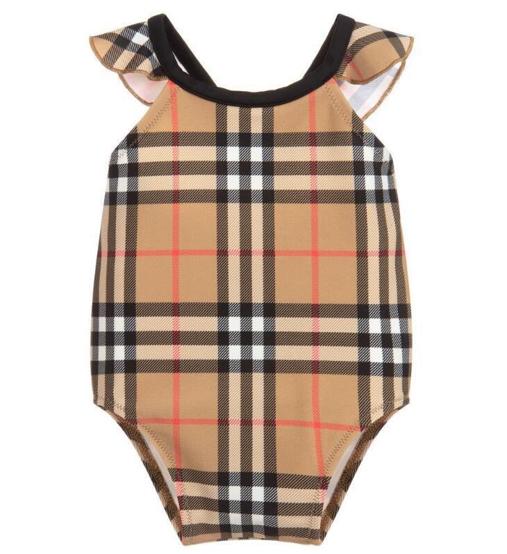 дети девушка одежда лучшие продажи высокого класса цельный плавать новорожденных девочек комбинезоны классические решетки купальники девушка купальник дети пляжная одежда
