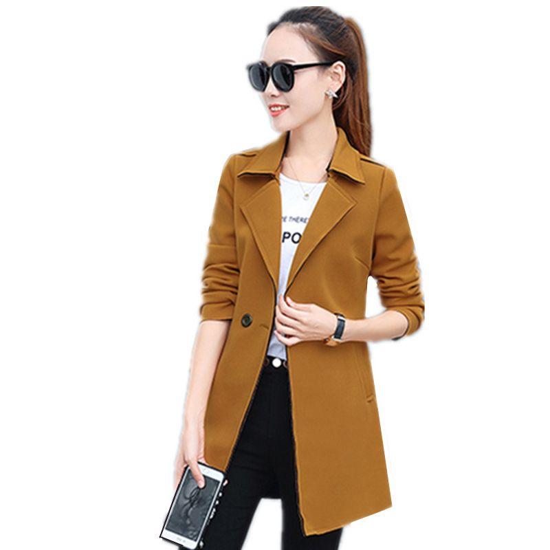 Women's Trench Coats 2021 Spring Autumn Windbreaker Medium Long Korean Elegant Slim Slimming Coat Large Size Woman's Fashion Jacket Vs375