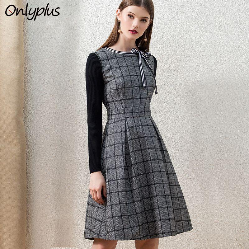 Onlyplus Vintage Casual Sıcak İnce Kadınlar Için Elbiseler Kadın Siyah Örgü Uzun Kollu Ekose A-Line Retro Yay Diz D