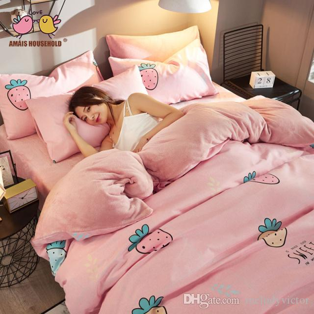 Lovely Pricess Style Pink Theme Colorful Strawberry Decor Luxury Queen Size Luxury Bedding Duvet Cover, Bed Sheet, Pillow Case 4pcs Sets