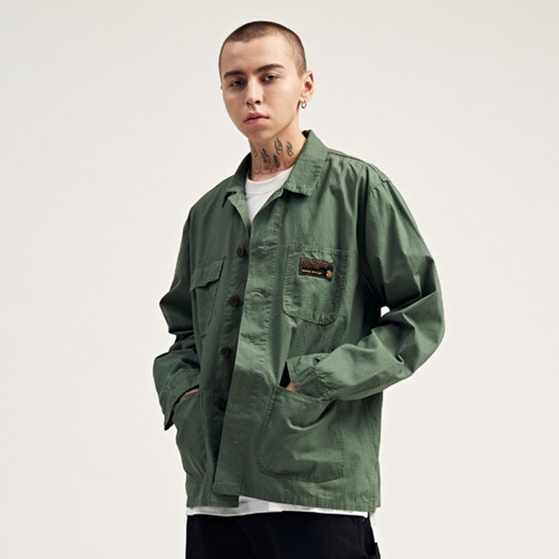 Мужские повседневные рубашки мужские камуфляж с длинным рукавом хип-хоп карманные кнопки вверх по модной улице мужские топы