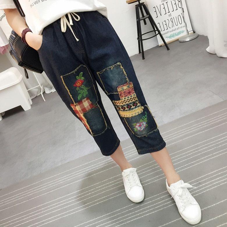 f950f42c6 Compre Estilo Vintage Retro Étnico Estilo Boho Bordado Bordado Patchwork  Jeans Azul Denim Solto Calf Comprimento Calças Comprimento Pantolon Calças    579144 ...