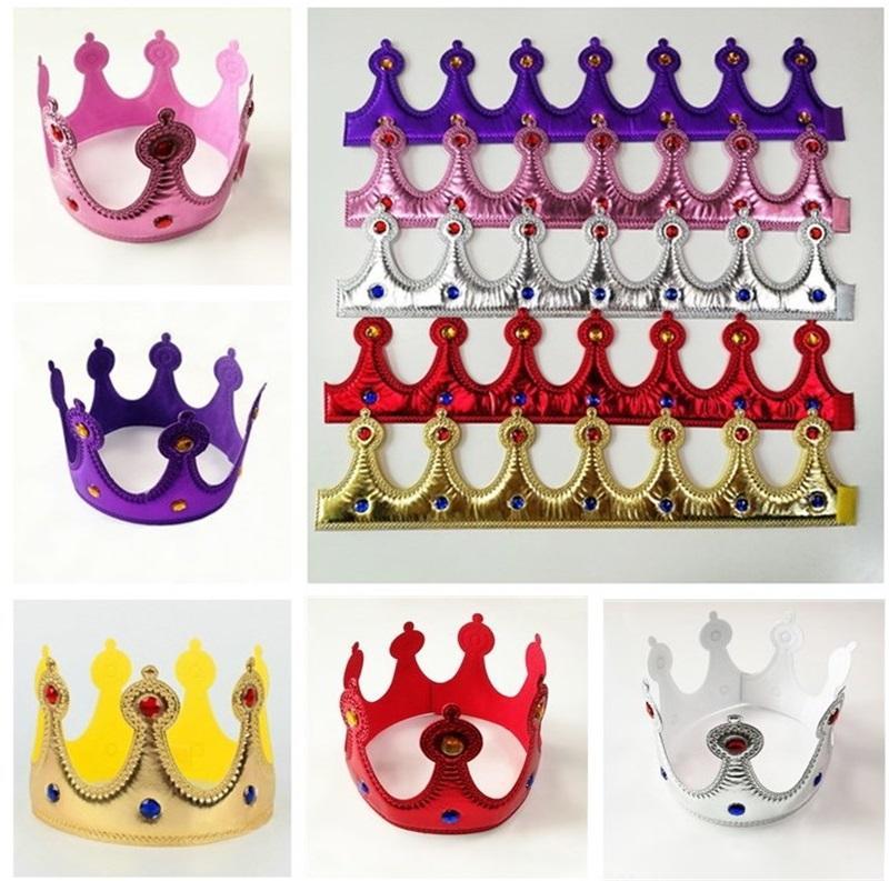 Gold Crown King Queen Princess Princes Prince Fancy Vestido Ajustable Niños Adultos Party Props Cosplay Sombreros Navidad Halloween Suministros de cumpleaños