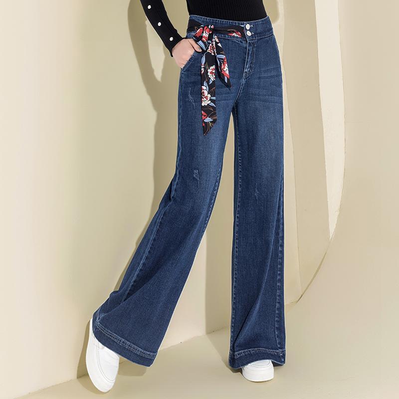 Donne denim dei jeans a vita alta gamba larga Pantaloni Vintage pantaloni rigonfi allentati casuali Figura intera coulisse Palazzo Retro Pantaloni