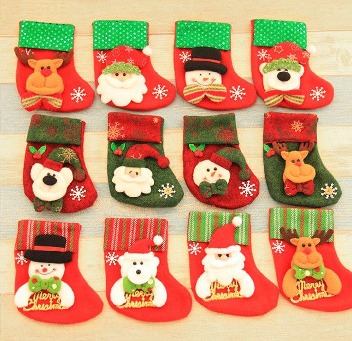 Christmas Stockings Decorations Santa Claus Socks Gift Kids Candy Bag Christmas Tree Pendant Socks Stocking Xmas Ornament