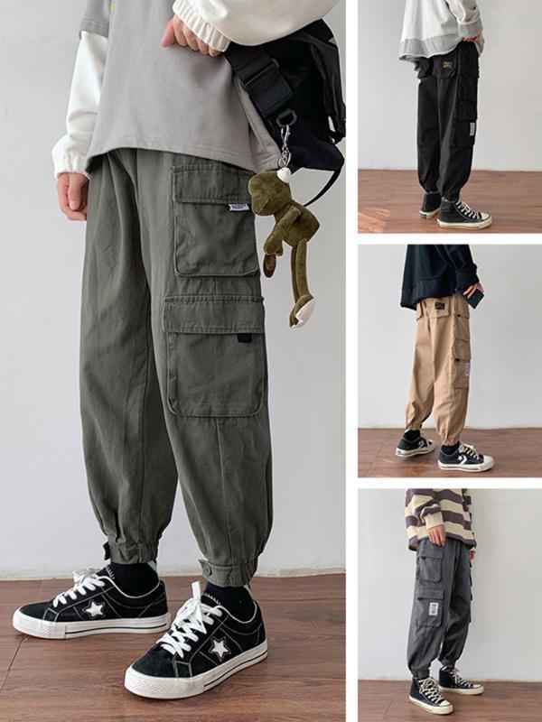 Solta dos homens Caber calça casual coreano tendência de algodão bolso macacões Pure Bouquet Cor de Pé Calças Juventude nove décimos Pants