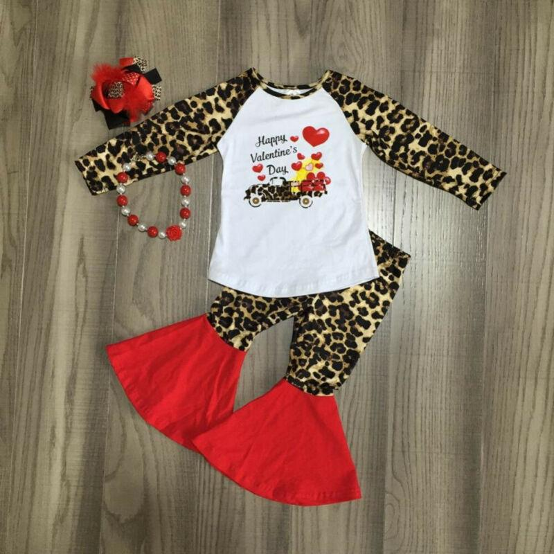 2020 New Valentines Days Newborn Infant Kids Baby Girls Boys 2PCS Sets Leopard T-shirt+Flared Pant Outfit 6M-5T