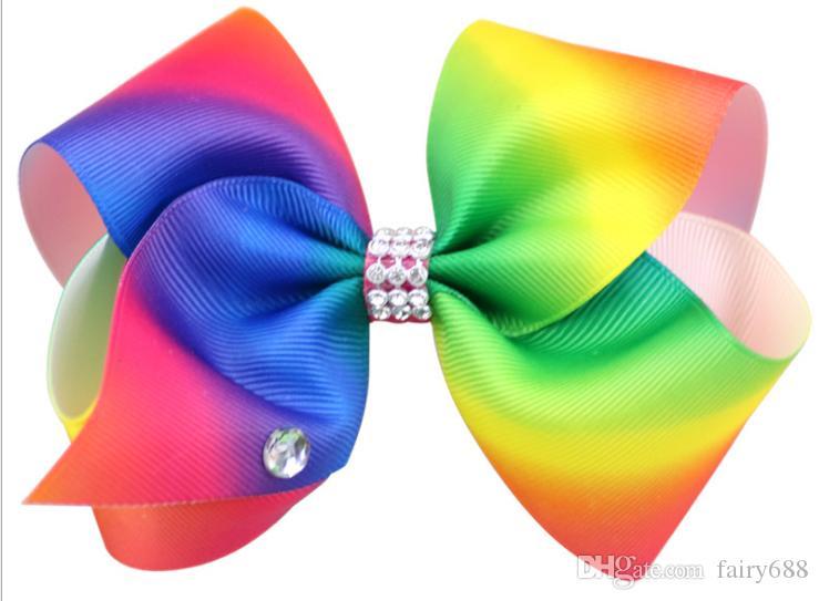 Rainbow color gradient Rib band children's bow hairpin band row drill Jojo big diamond children's hair accessories