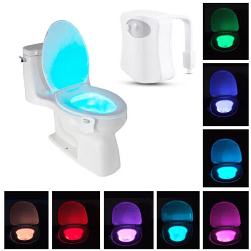 Novo WC Luz Noturna LED Sensor de Movimento Ativado Banheiro Higiênico Banheiro Lâmpada Noturna Banheiro Tigela Luz Sensor Assento Nightlight ST418