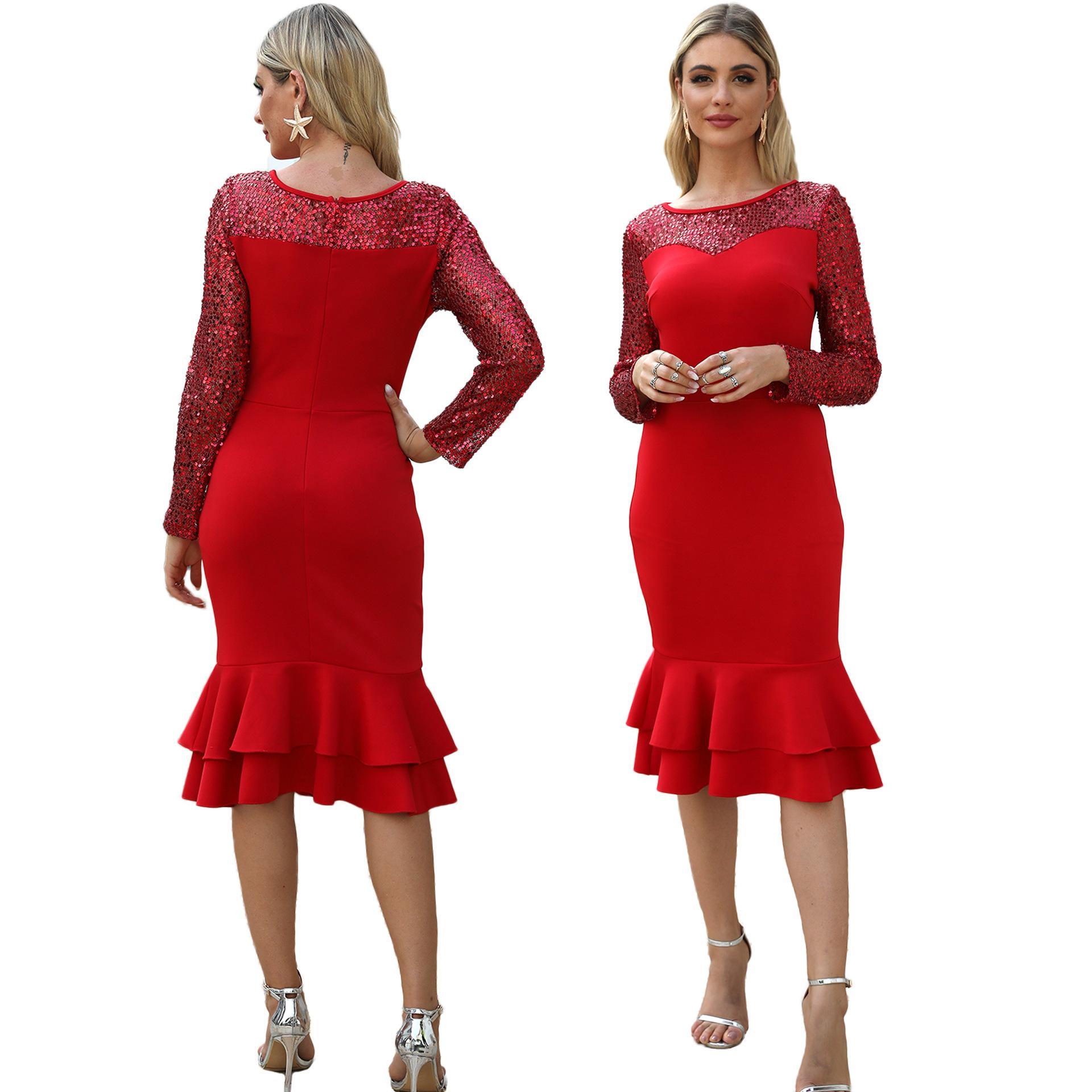 Designer-Frauen-Kleidung Patchwork Pailletten-Kleid-elegante rot Rüschen Pailletten Meerjungfrauenkleid eleganter O Ansatz Feiern Partei Vetidos