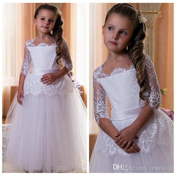 ff34ca37a488c Lovely Half Sleeves Lace Flower Girls Dresses Ball Gown With Sash Puffy  Tulle Skirts Custom Made Holy First Communion Party Dress Wholesale Flower  ...