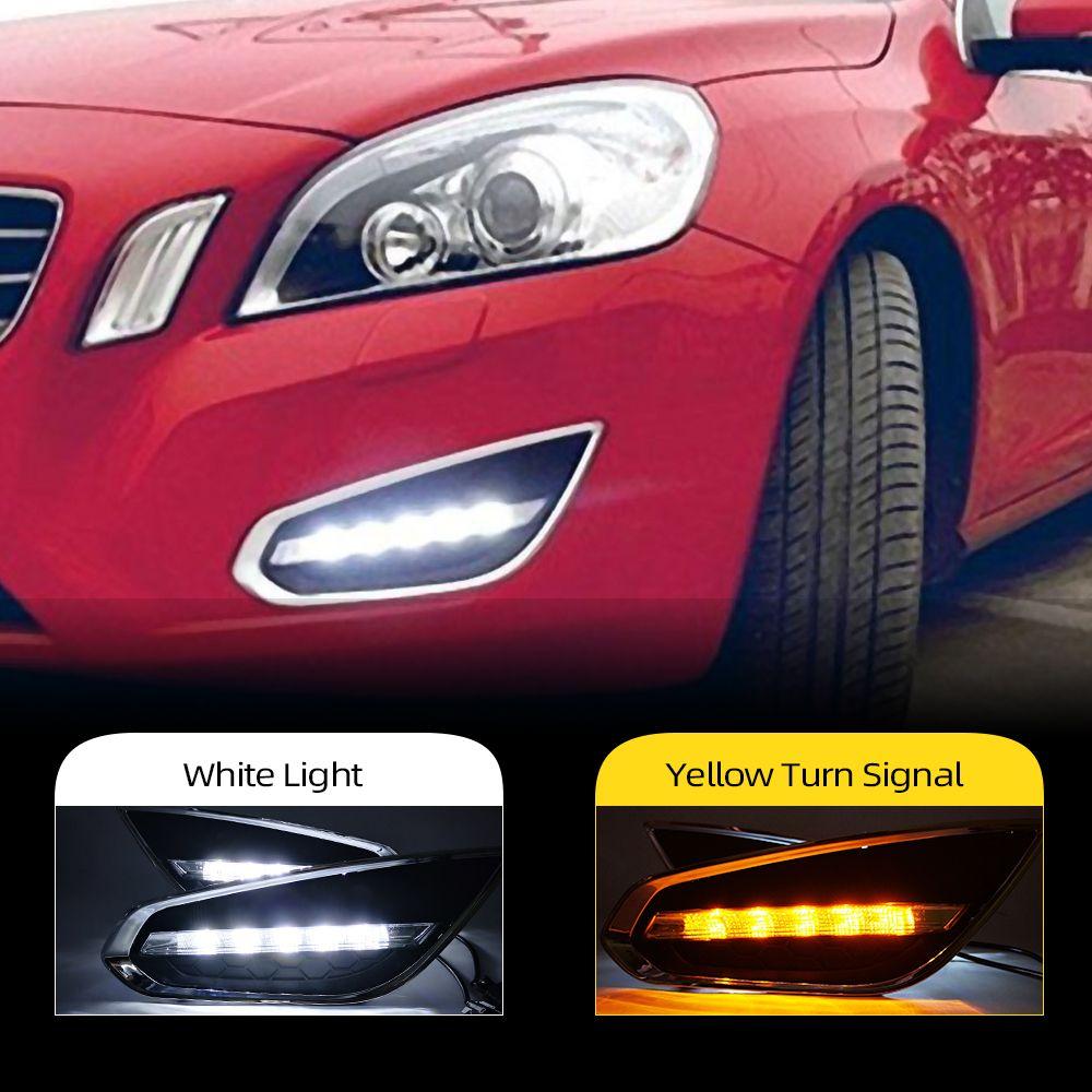 2PCS carro DRL Para Volvo S60 2009 Capa 2010 2011 2012 2013 LED luzes diurnas Daylight Fog Lamp