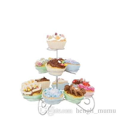 European-Style Three-Layer Cake Stand Wrought Iron Tree Stand Cupcakes Dessert Metal Frame Swing Sets Wedding Decoration HY0005