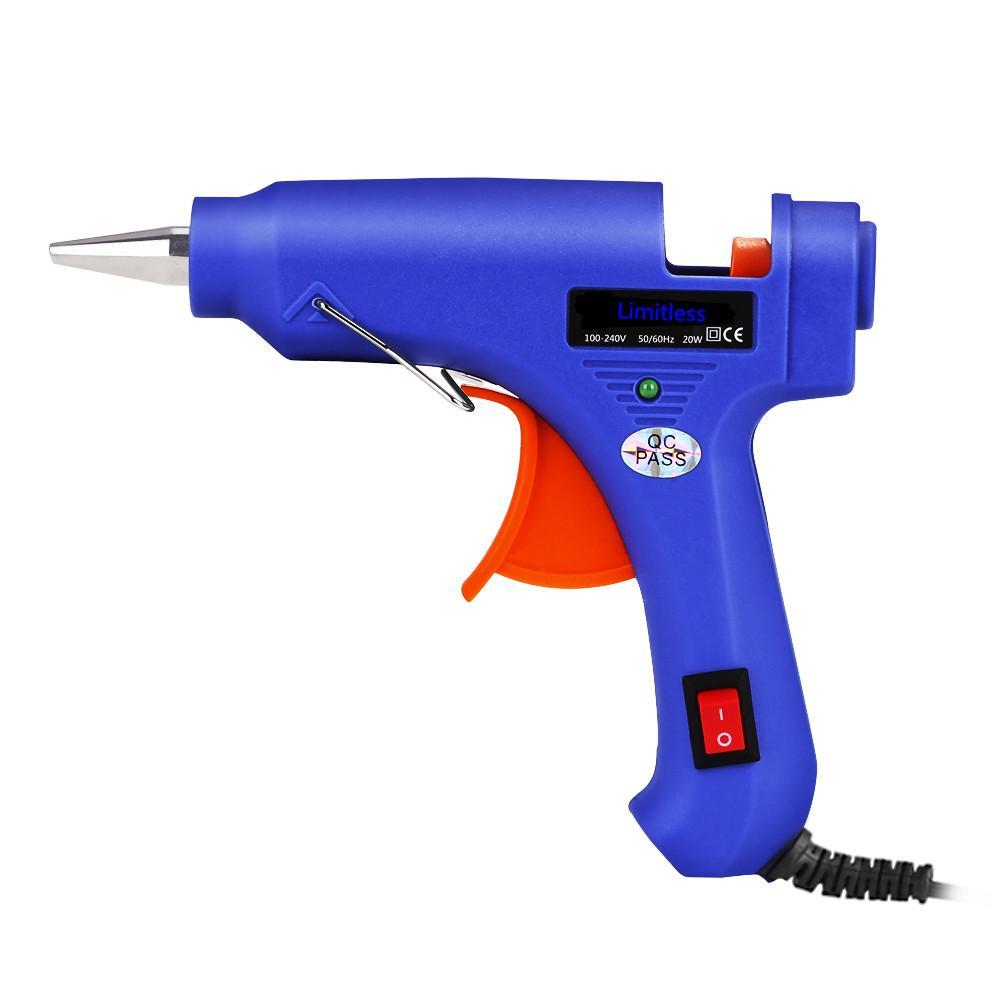 Temperatura 20W Hot Melt Glue Gun industriali Mini Guns Thermo Electric Heat Strumento strumento hardware Hot Glue Gun alluminio ugello