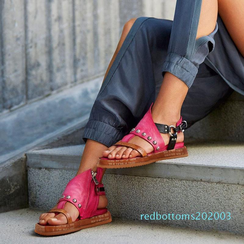 Roma moda de mujer de los zapatos planos de las sandalias verano ocasional mujeres de las sandalias Chancletas cuñas de la plataforma del cuero artificial Calzado r03