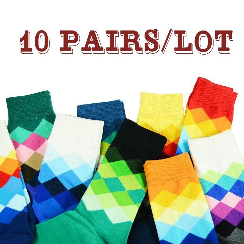 Хлопок Мужчина Носки Pattern плед Cr Цветной Смешной Happy Socks 10 пара / серии Охладить Man Сокс Gift Long Harajuku Calcetines