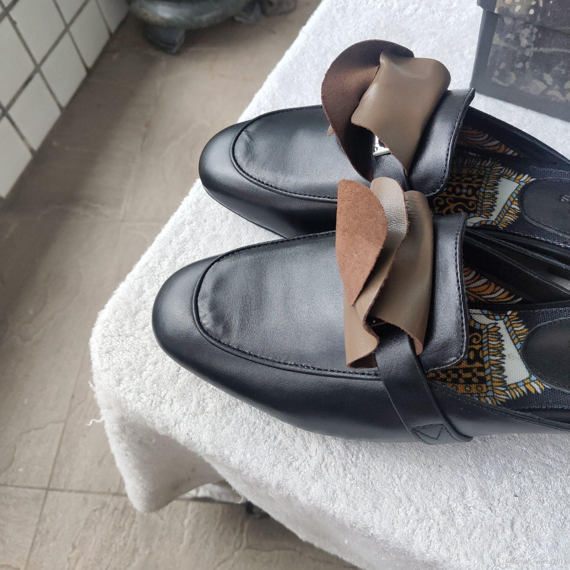 Zapatos de diseño clásico europeo, zapatillas para mujer, piel decorativa de metal decorativa, piel suave, estilos más coloridos