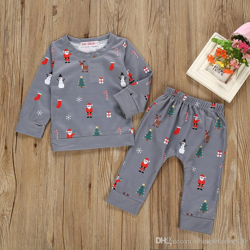 Baby Girl Boy рождественские пижамы одежда набор одежды elk santa claus parted top + штаны 2 шт новых 2019