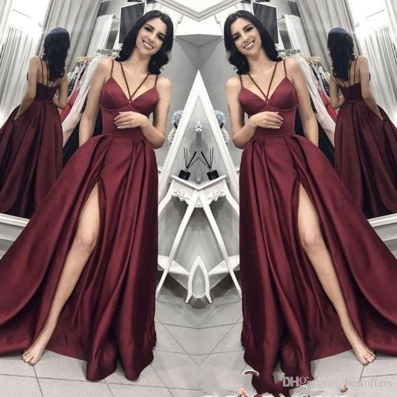 플러스 사이즈 이브닝 드레스 포켓 2019 롱 브이 넥 A 라인 분할 사이드 섹시 백 레이스 플러스 사이즈 댄스 파티 드레스 CHEAP 들러리 드레스 BC0797