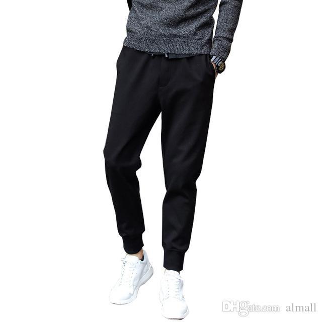 Erkekler Uzun Yaz Gevşek Işın Pantolon Harem Uzun Pantolon Fit Moda Siyah Rahat Gevşek Kalça İpli Pantolon