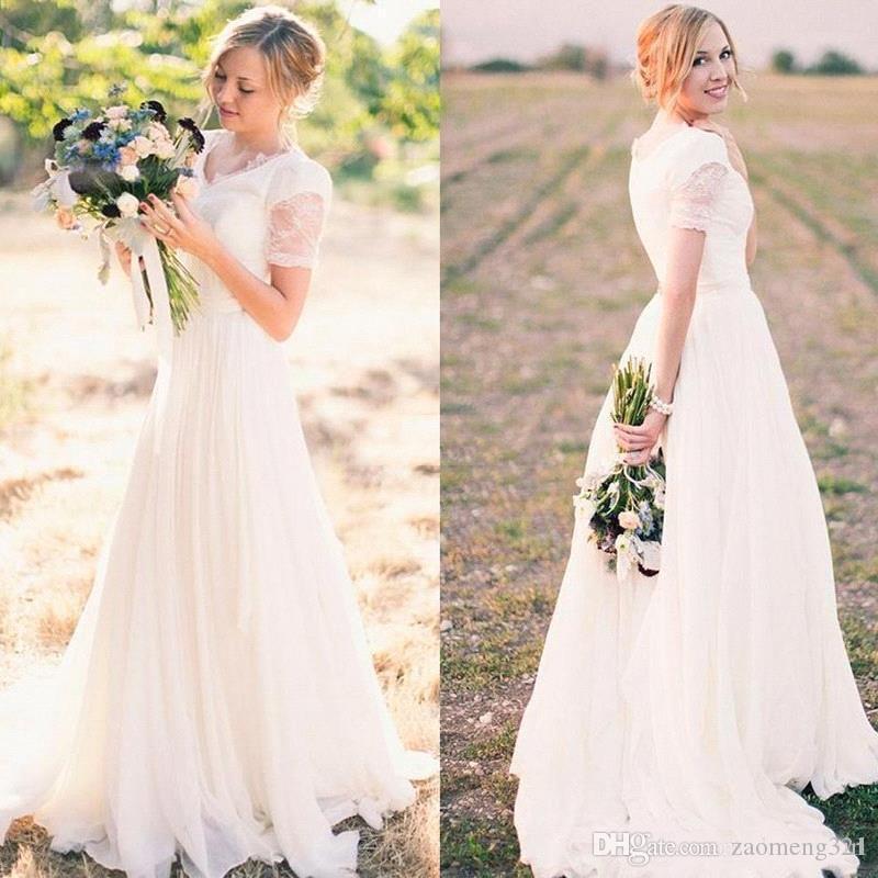Vintage Kurzarm A Line Spitze Brautkleider V-ausschnitt Spitze Applikationen Tüll Günstige Brautkleid Garten Hochzeit vestido de novia