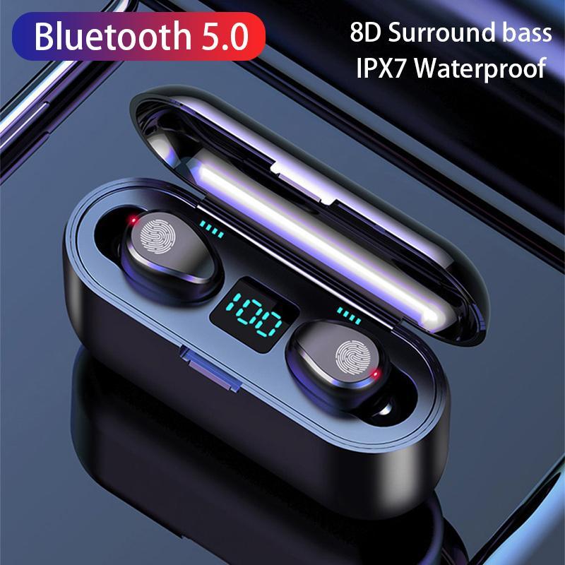 마이크 휴대 전화 이어폰과 2000MAH 배터리 충전기와 F9 TWS 블루투스 5.0 무선 이어폰 (8D) 서라운드베이스 LED 디스플레이