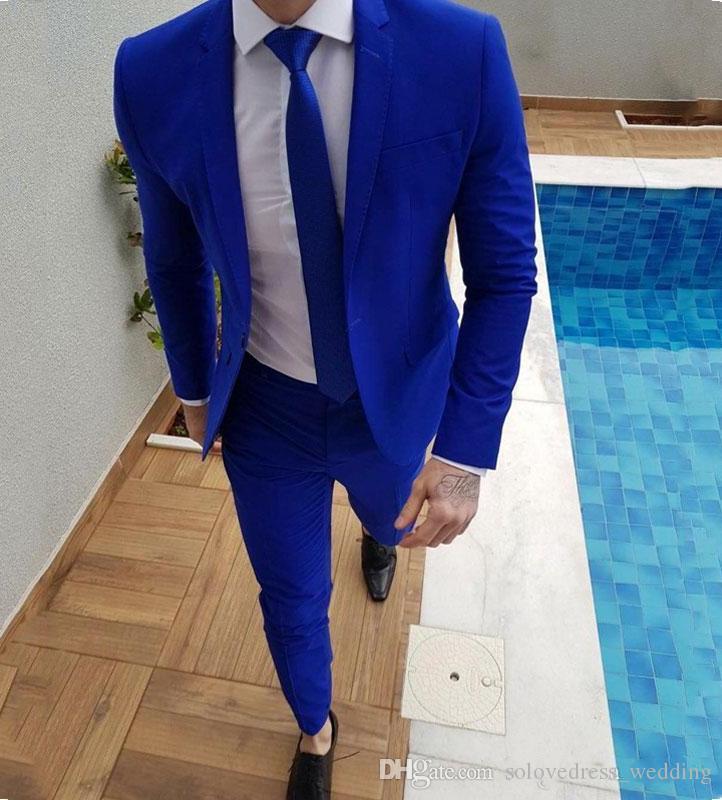 Solovedress Blue Men Costumes De Revers À Visière Décontractée Homme Blazers Bel Homme Veste Slim Fit Costumes De Bal De Mariée Tuxedo 2 Pièces Pantalon Costumes
