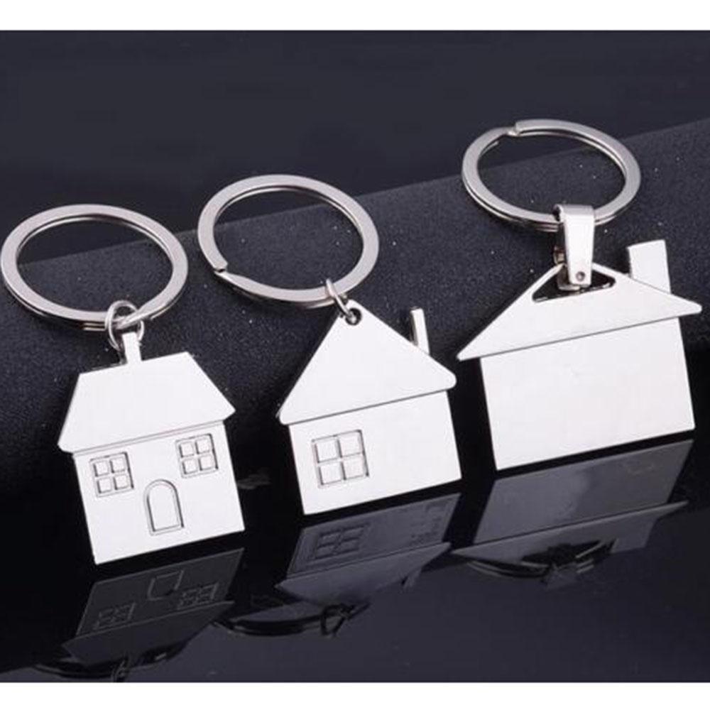 Forma Chrome Silver Metal Casa Catena portachiavi lucente anello chiave di modo brandnew