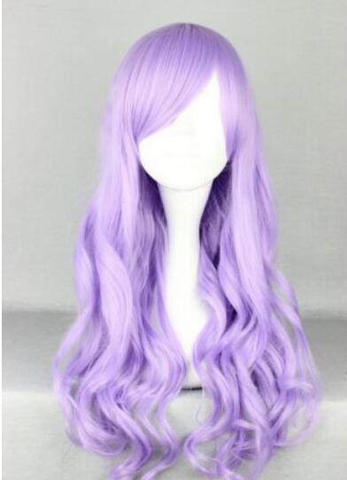 무료 배송 + ++ 새로운 판매 70cm 내열성 긴 곱슬 혼합 보라색 패션 헤어 가발 가발