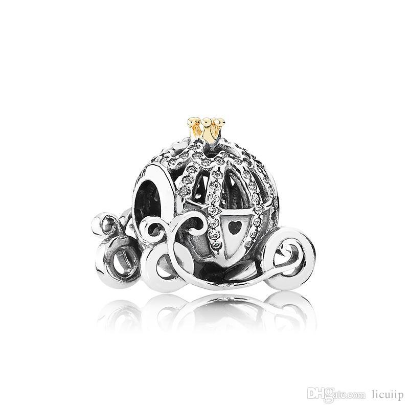حساسة وأنيقة اليقطين سيارة سحر أصيلة 925 فضة مع cz الماس مناسبة ل باندورا diy سوار مطرز السيدات هدية