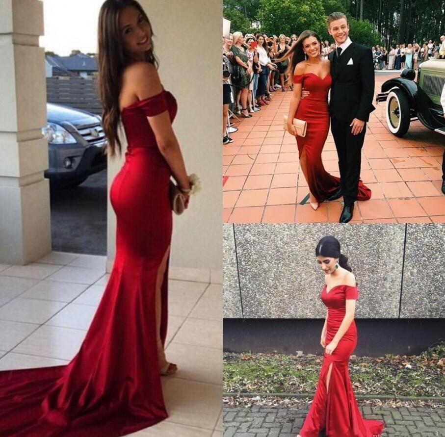 Off The Shoulder Sexy Red Prom Dresses