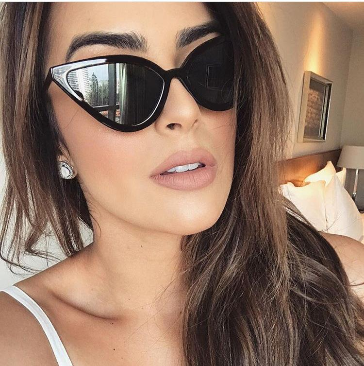 New fashion cat eye sunglasses women's trend cool personality small frame street shooting glasses S8010