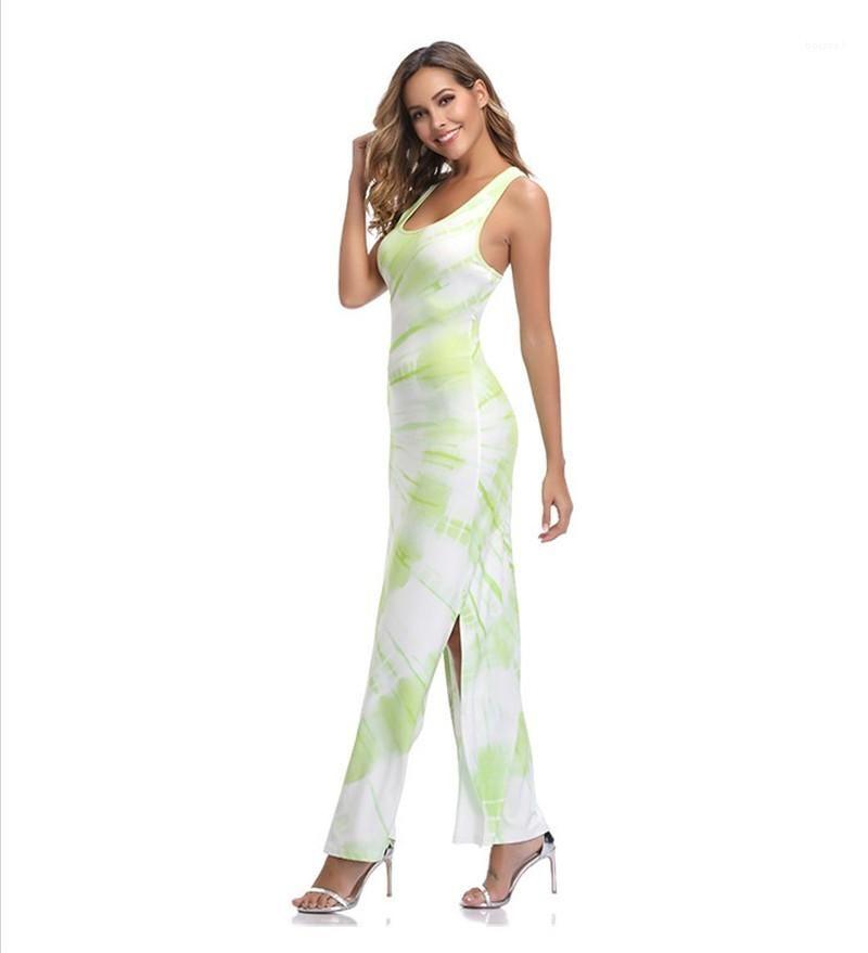 Imprimé floral longueur manches cheville dames Robe Femme à encolure dégagée vêtements pour femmes de Split vert Robes d'été