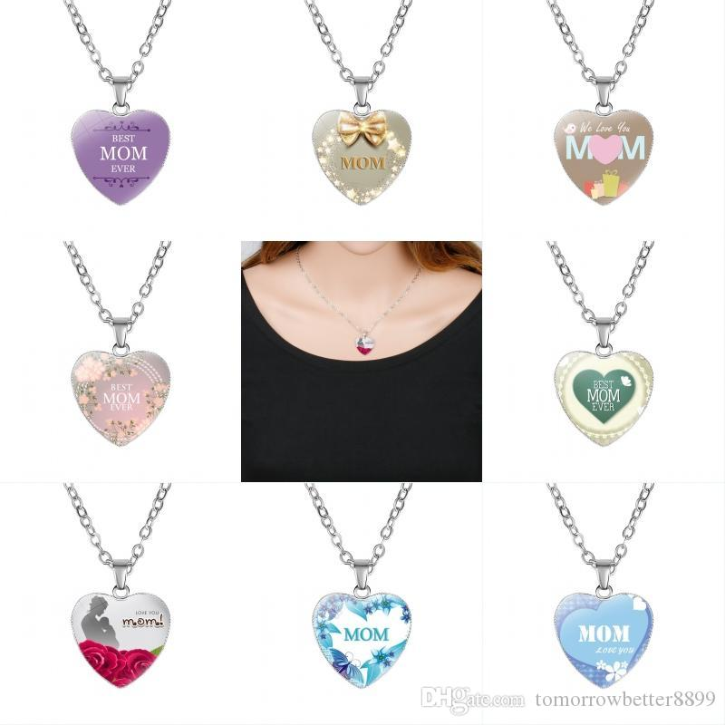 Great Mother Infinity Forever Love 8 Styles Gemstone Heart Necklace Pendant Sweater Chain Fashion Jewelry for Mom Christmas Gift