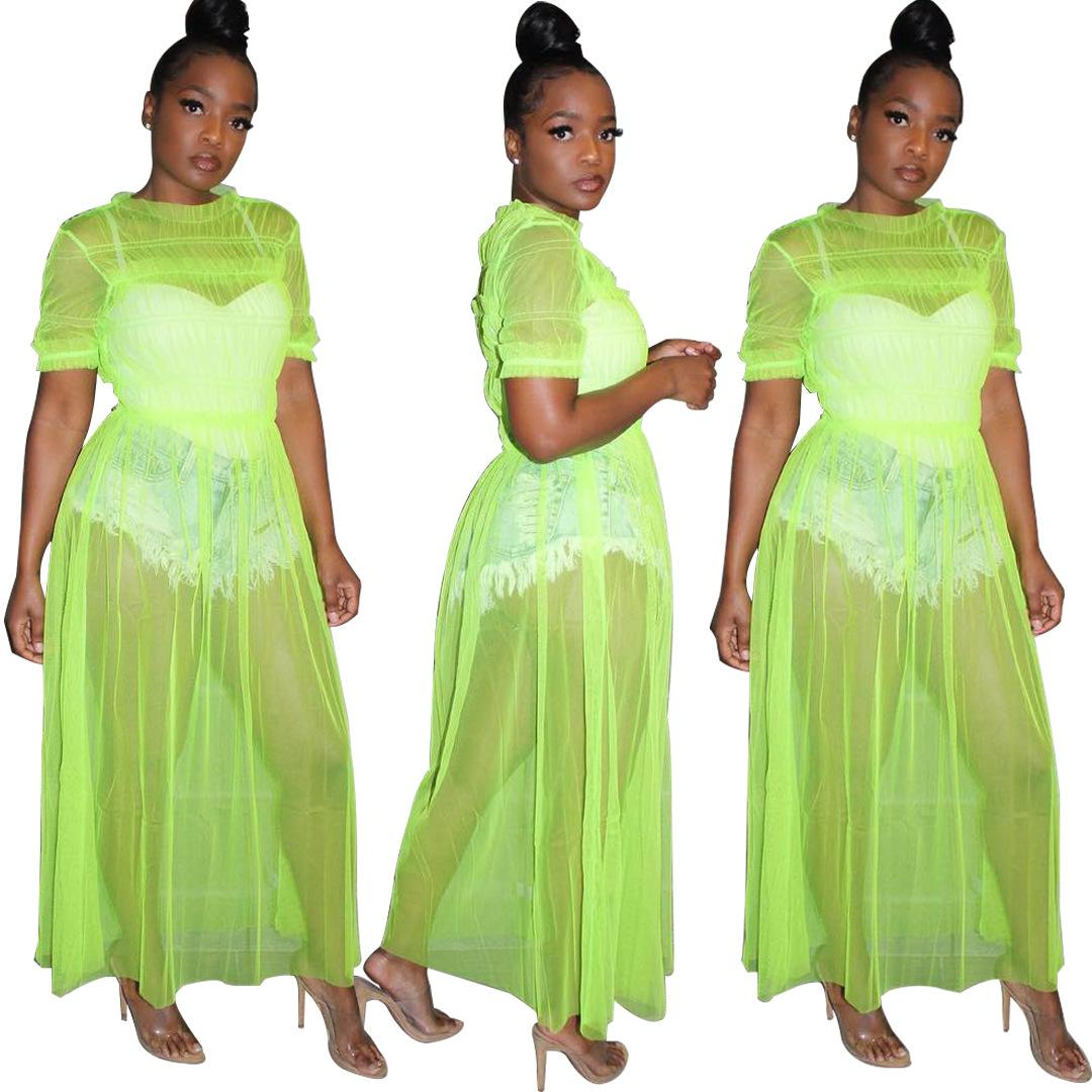 f1018e5cfa ... Women Sheer Mesh Beach Maxi Dress Short Sleeve Clubwear Outfits  Vestidos New Sexy Night Club Long ...