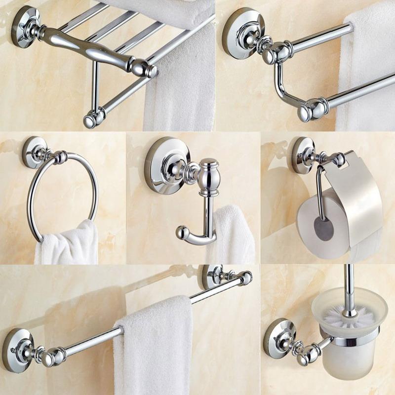 Banheiro Hardware Set Chrome Polido Toothbrush Holder Papel Bar Toalha de Banho Acessórios BD617
