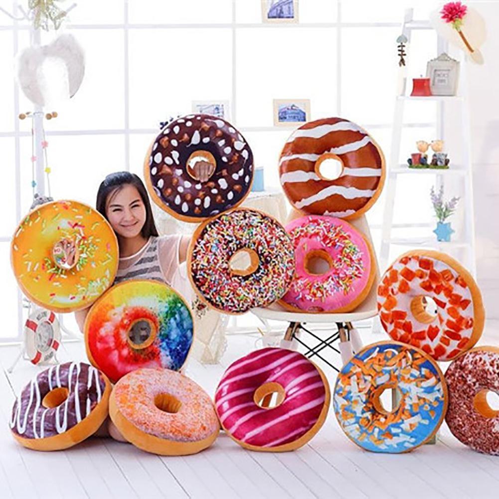 3D Creative Plush Donut Food Stuffed Pillow Sofa Chair Back Car Cushions Mat Cute Simulation Cushion Soft Cushion Plush Toy