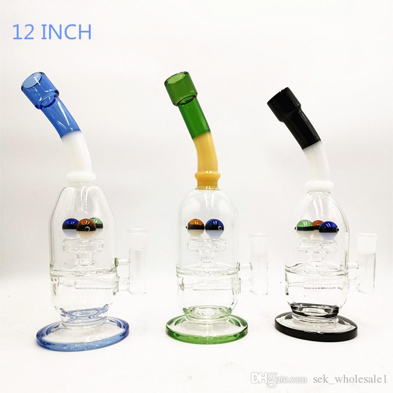 12 zoll Neues design einzigartige glas wasserpfeife bong zum verkauf inline percolator glas bong mit 14mm schüssel hoch recycelbar tupfen rig blubber