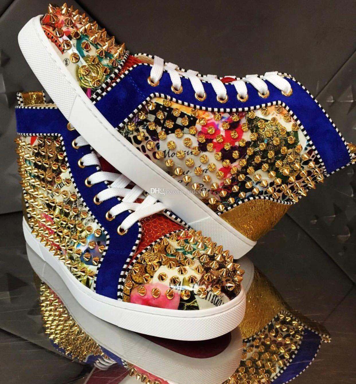 مصمم أنيق الذهب ترصيع المسامير الأحمر أسفل أحذية رياضية للرجال والنساء الفاخرة عارضة حفل زفاف اللباس الشتاء الأزياء الترفيه