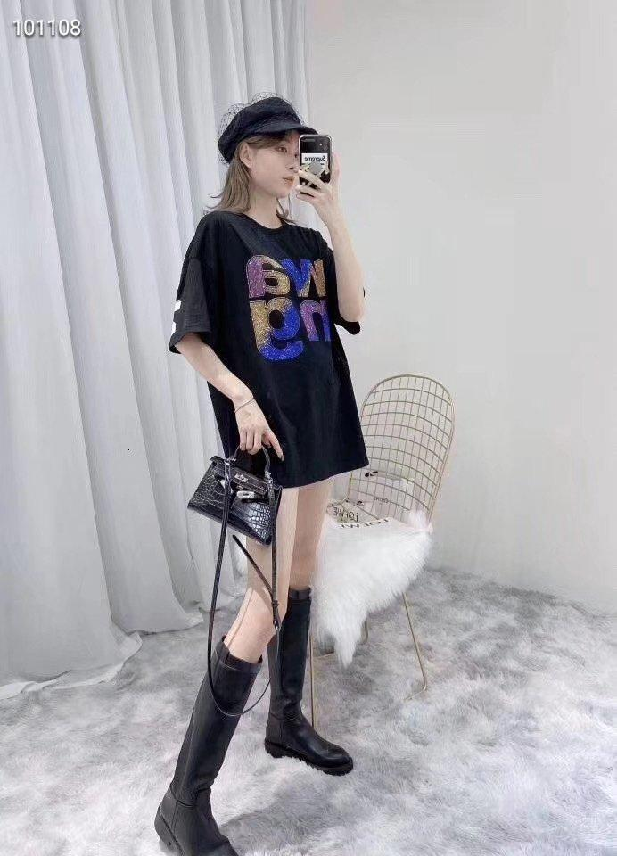 2020 mulheres de alta qualidade de Manga Curta T-shirt de moda de primavera e verão casual e confortável vestuário 7681