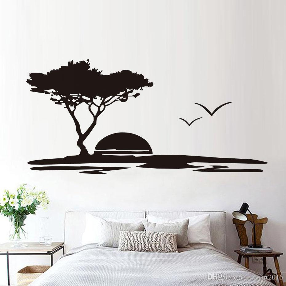Vinilos Decorativos Pared Naturaleza.Compre 1 Unids Forest Big Tree And Seagulls Naturaleza Pegatinas De Pared Mar Puesta De Sol Paisaje Sala De Estar Mural De Pared De Vinilo Removible
