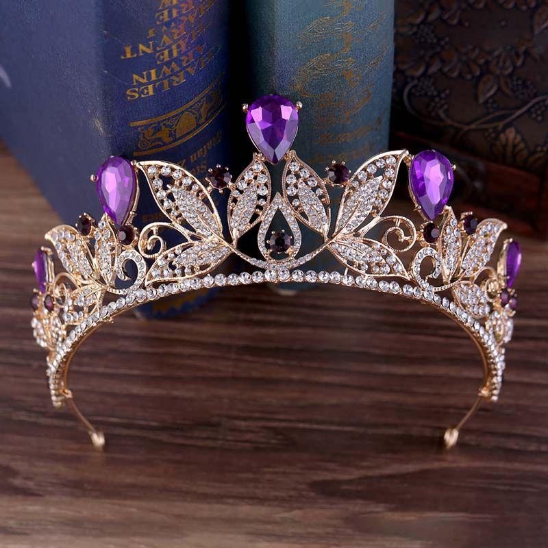 Нежный элегантный ясно форма листа тиара и Корона многоцветный Кристалл невесты диадема свадебные аксессуары для волос ювелирные изделия для женщин VL